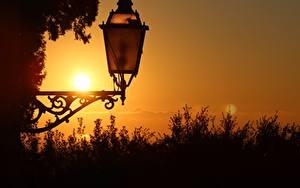 Hintergrundbilder Nahaufnahme Morgendämmerung und Sonnenuntergang Straßenlaterne Natur