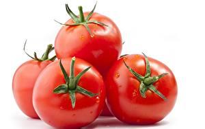 Fotos Großansicht Tomate Weißer hintergrund Lebensmittel