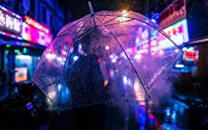 Fotos Nahaufnahme Regenschirm Tropfen Nacht