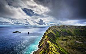 Bilder Küste Chile Wolke Felsen Easter Island, Rano Kau Natur