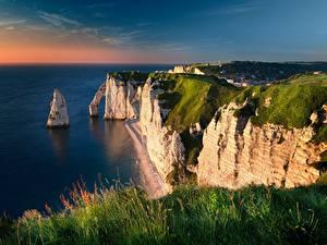Bilder Küste Frankreich Gras Felsen La Manche Natur