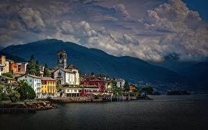 Hintergrundbilder Küste Gebäude Schweiz See Alpen Lake Maggiore, Brissago Städte