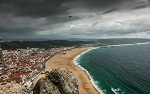 Hintergrundbilder Küste Portugal Strand Gewitterwolke Horizont Von oben Nazare, Leiria County Natur