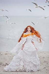 Bilder Küste Rotschopf Bräute Kleid Mädchens