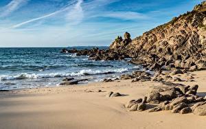 デスクトップの壁紙、、海岸、石、海、波、ビーチ、自然
