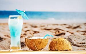 Bilder Cocktail Kokos Strände Trinkglas Lebensmittel