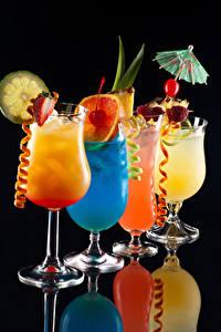 Hintergrundbilder Cocktail Obst Schwarzer Hintergrund Weinglas