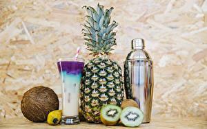 Bilder Cocktail Ananas Kiwi Kokos Trinkglas Lebensmittel