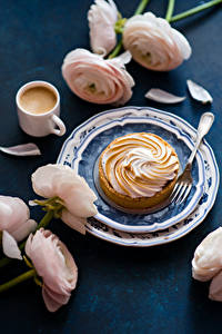 Bilder Kaffee Törtchen Ranunkel Teller Tasse Essgabel Lebensmittel