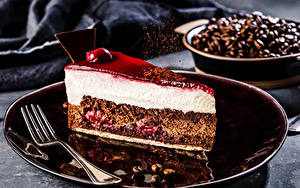 Image Cake Coffee Cakes Plate Fork Grain Piece