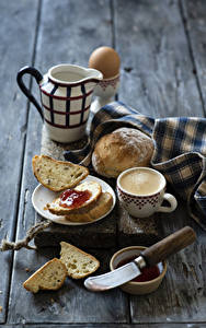 Pictures Coffee Cappuccino Bread Varenye Knife Wood planks Breakfast Pitcher Cup