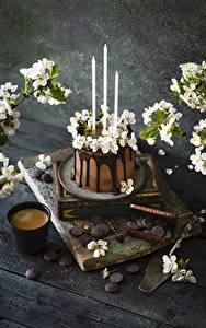Bilder Kaffee Cappuccino Torte Kerzen Schokolade Blühende Bäume Bretter Trinkglas Ast das Essen Blumen