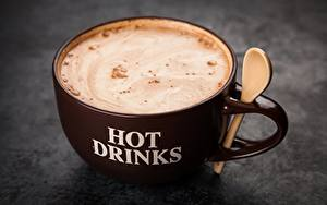 Tapety na pulpit Kawa Cappuccino Z bliska Kubek Jedzenie