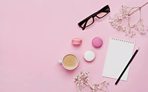 Wallpaper Coffee Cappuccino Colored background Sheet of paper Cup Macaron Eyeglasses Pencils