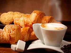 Picture Coffee Cappuccino Croissant Cup Sugar Grain