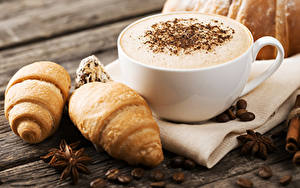 Picture Coffee Cappuccino Croissant Star anise Illicium Wood planks Cup Grain Food