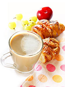 Photo Coffee Cappuccino Croissant White background Cup