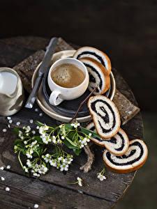 Bilder Kaffee Cappuccino Backware Brot Bretter Ast Tasse das Essen