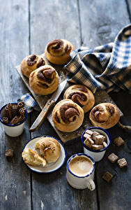Image Coffee Cappuccino Baking Cinnamon Buns Boards Cup Sugar