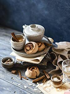 Bilder Kaffee Cappuccino Backware Zimt Bretter Tasse das Essen