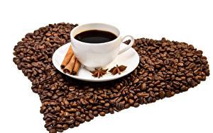 Hintergrundbilder Kaffee Zimt Sternanis Weißer hintergrund Getreide Tasse Herz das Essen