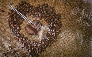 Tapety na pulpit Kawa Zbliżenie Ziarna Serduszko żywność