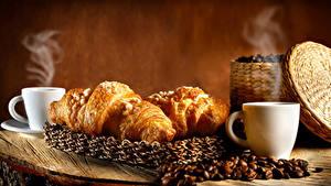 Bilder Kaffee Croissant Tasse Getreide Dampf das Essen