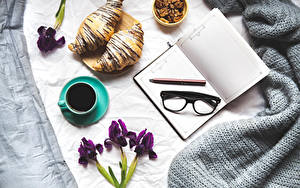 Pictures Coffee Croissant Irises Cup Notepad Eyeglasses Pencil Food