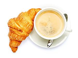 Bilder Kaffee Croissant Weißer hintergrund Tasse