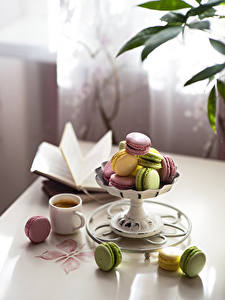Image Coffee Cup French macarons Multicolor Blurred background Food