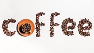 Fotos Kaffee Getreide Tasse Grauer Hintergrund Lebensmittel