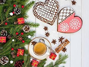Hintergrundbilder Kaffee Schmuck Kekse Neujahr Ast Zapfen Tasse Herz