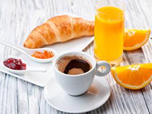 Hintergrundbilder Kaffee Fruchtsaft Apfelsine Croissant Konfitüre Bretter Frühstück Tasse Trinkglas