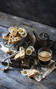 Bilder Kaffee Backware Kamillen Bretter Trinkglas Lebensmittel