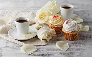 Bilder Kaffee Keks Rosen Becher Blumen