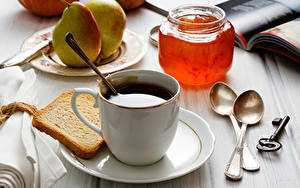 Fotos Kaffee Powidl Brot Birnen Tasse Weckglas Löffel Schlüssel Lebensmittel