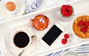 Hintergrundbilder Kaffee Himbeeren Müsli Backware Frühstück Tasse Ei Smartphone Lebensmittel