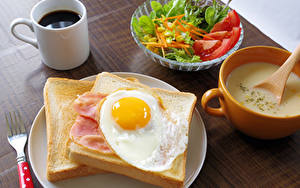 Photo Coffee Salads Bread Breakfast Cup Fried egg