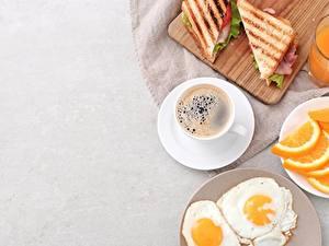 Bilder Kaffee Sandwich Spiegelei Frühstück Tasse