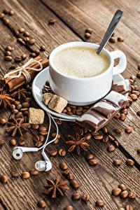 Bilder Kaffee Sternanis Zimt Schokolade Cappuccino Bretter Tasse Getreide Kopfhörer Zucker Lebensmittel