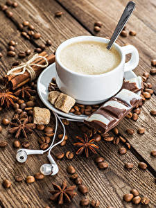 Picture Coffee Star anise Illicium Cinnamon Chocolate Cappuccino Boards Cup Grain Headphones Sugar Food