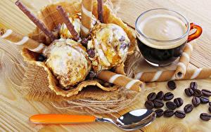 Fotos Kaffee Süßware Speiseeis Bretter Tasse Getreide Löffel