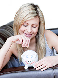 Wallpapers Coins Blonde girl Smile Hands Piggy bank Girls