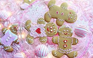 Bilder Kekse Zuckerguss Backware Schneeflocken Herz