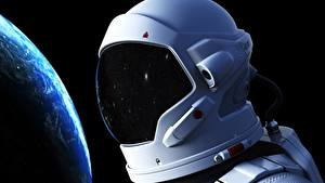 Picture Cosmonauts Closeup Helmet Space