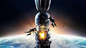 Desktop wallpapers Astronaut Explosions Orbital stations Salyut-7 Movies Space