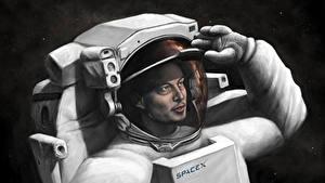 Wallpaper Cosmonauts Painting Art Elon Musk, SpaceX
