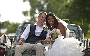 Image Lovers Man Wedding Two Groom Brides Smile Brunette girl Sitting Negroid young woman