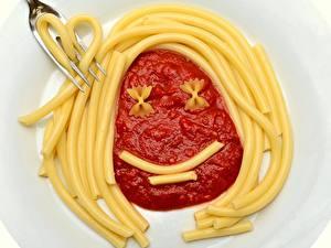 Bilder Kreativ Gabel Lächeln Makkaroni Ketchup das Essen