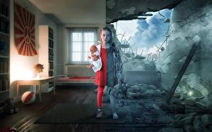 デスクトップの壁紙、、クリエイティブ、廃墟、戦争、小さな女の子、人形、子供